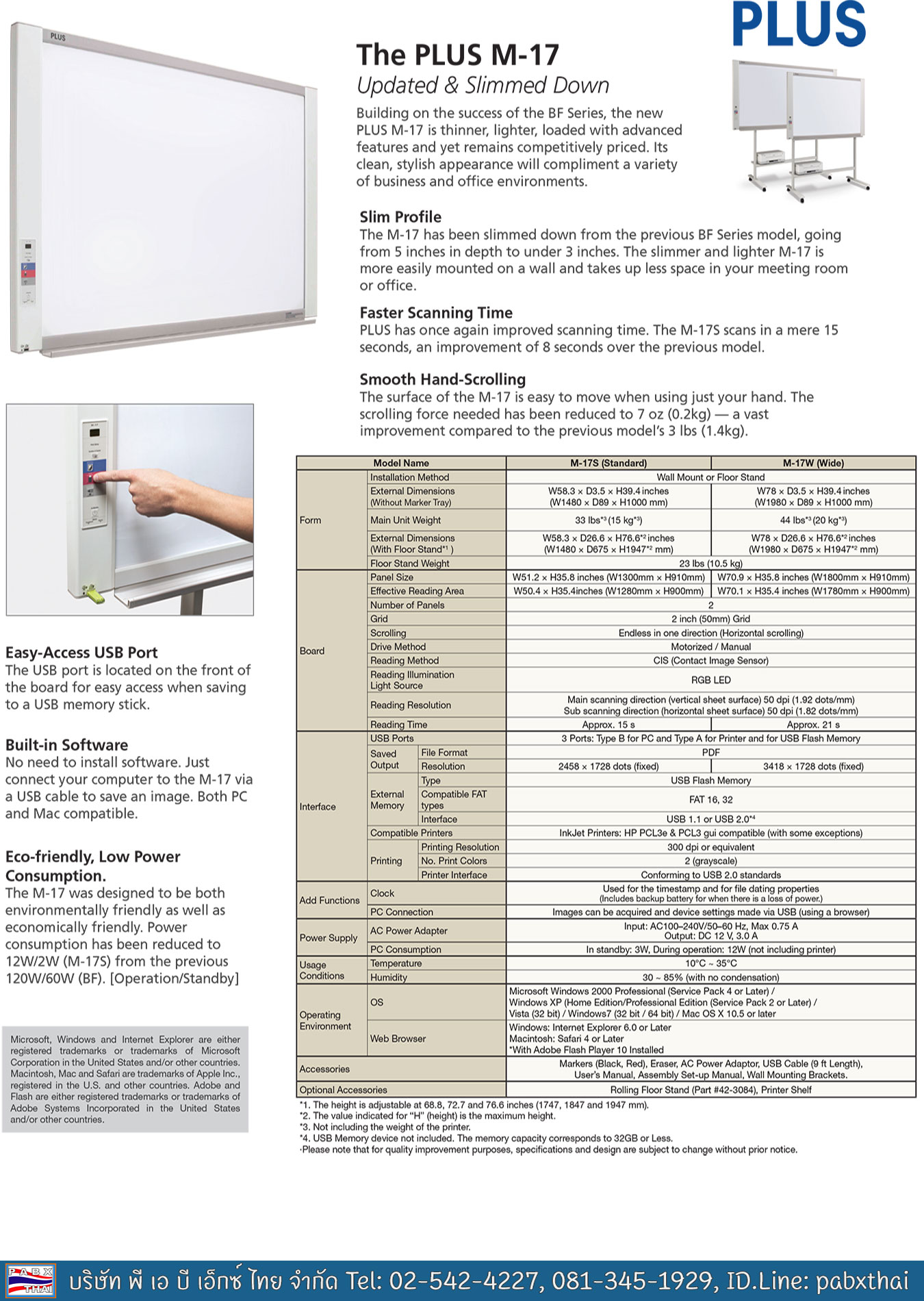 Plus M-17W Electronic Copyboard B&W Built-in USB memory writer & USB for external printer