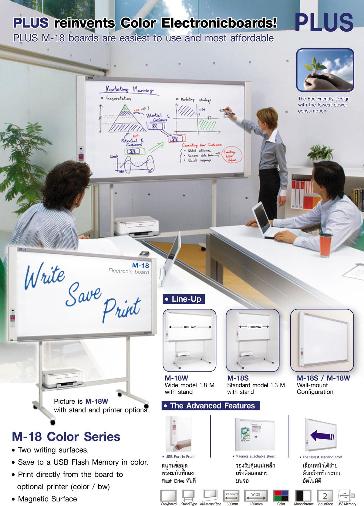 Plus M-18Ss  Electronic Copyboard Board กระดานอิเล็กทรอนิกส์อัจฉริยะ กระดานนำเสนองานพรีเซ้นต์