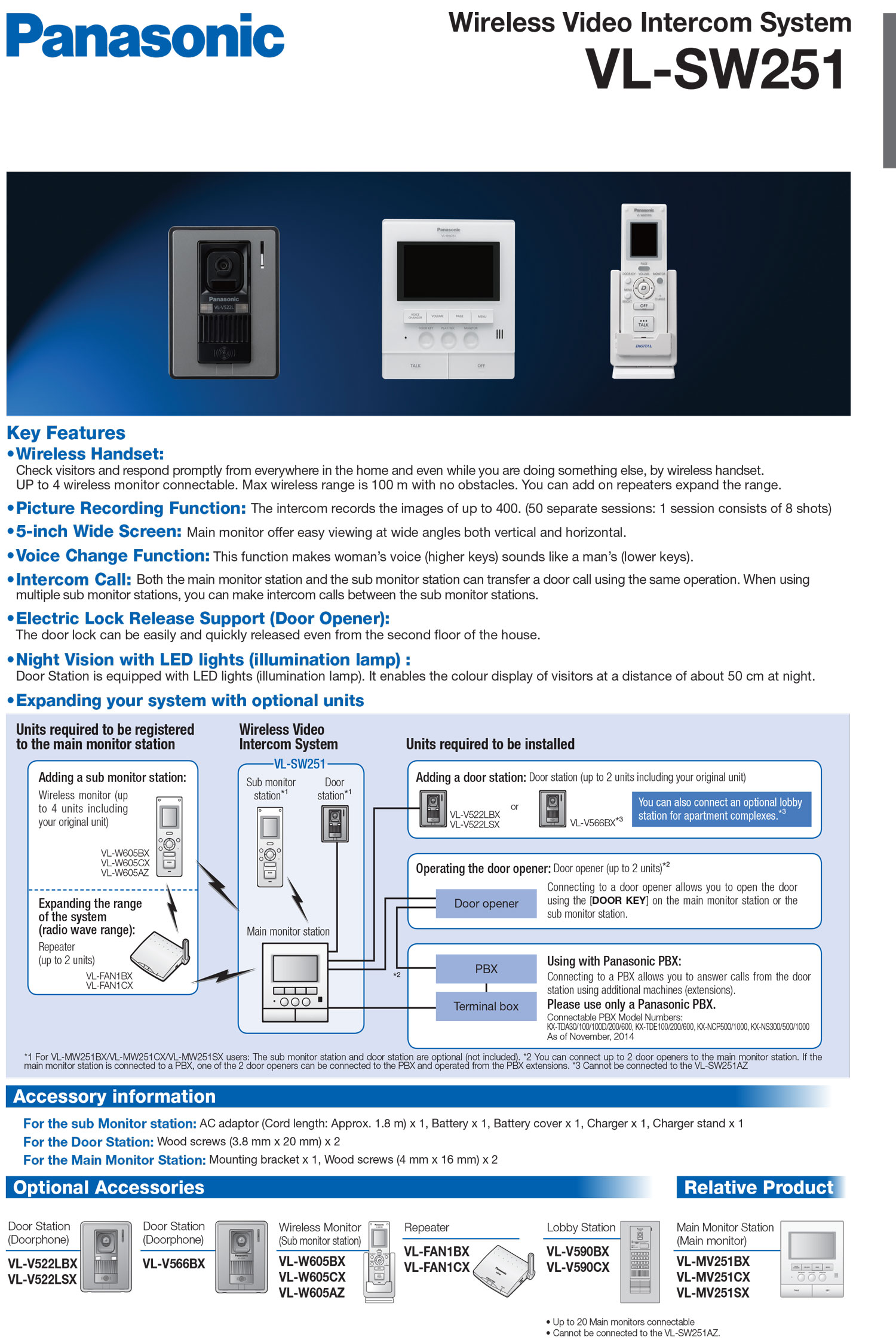 VL-SW251BX Video Intercom System